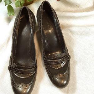 """Franco Sarto Shoes - Franco Sarto Bronze 2"""" Brogue Heels size 7 1/2"""